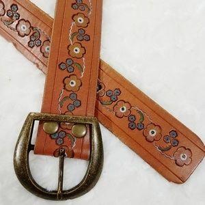 Hollister Leather Belt with Floral Design